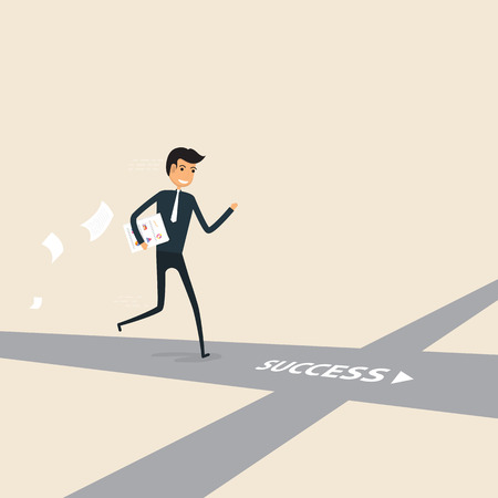 Way of success.Concept for success.Businessman walking on the street of success.Businessman on the road to success in business.Business vector concept illustration Иллюстрация