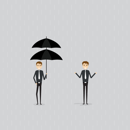Protection or Insurance Concept.Difference and Preparation concept.Two people sign.Businessman holding umbrella under rain.Businessman standing under the rain without the umbrella.Business vector concept illustration