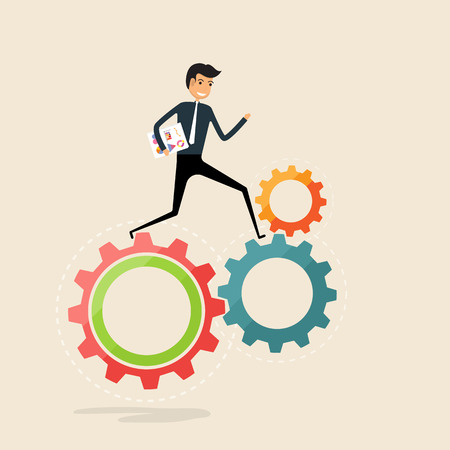 Running business work concept.Happy businessman and cogwheels sign.Businessman running on gear mechanism.Cogwheels working.Business vector concept illustration