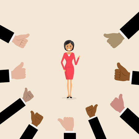 Acknowledgement and Business compliment concept.Success and Achievement concept.Proud businesswoman icon with many thumbs up hands on background.Cartoon character.Successful businesswoman with many thumbs up.Business vector concept illustration Illustration