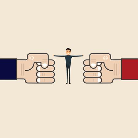 Concorrenza, mediazione o concetto di arbitro. Uomo d'affari e segno d'angolo blu e rosso. Il mediatore assiste le parti in conflitto. Risolvendo il conflitto o la risoluzione delle controversie. L'arbitro tra due uomini d'affari. L'uomo ferma il conflitto o smette di combattere.
