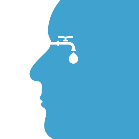 Human head with water drop and water tap icon vector icon design template. World Water Day icon. World Water Day idea campaign concept for greeting card and poster. Vector illustration.