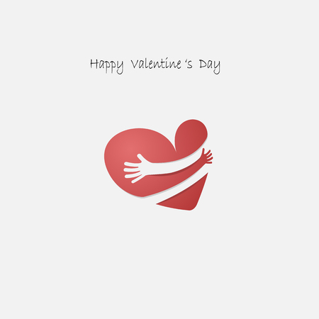 Red heart shapr with hand embrace.Hug yourself logo.Love yourself logo.Love and Heart Care icon.Happy valentines day concept.Healthcare & medical concept.Vector illustration