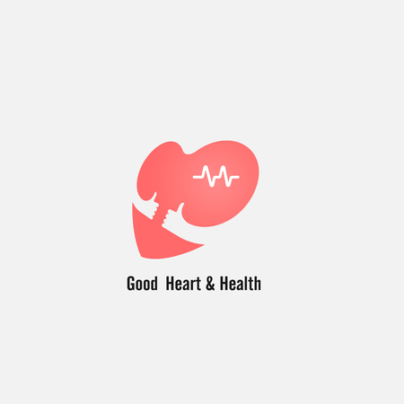 Heart sign and hands icon.Good heart & health concept.Healthcare,Medical and Science symbol.Healthy lifestyle vector logo template.Vector illustration