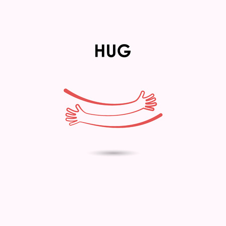 Embrace or hug icons vector design template. Love concept. Valentine's Day Vector Card. Love