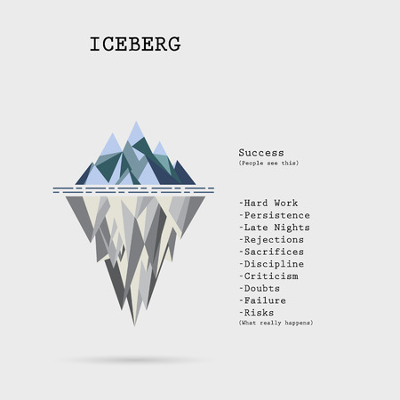 Risk analysis iceberg vector layered diagram.Iceberg on water infographic template.Business and education idea concept.Vector illustration Vectores