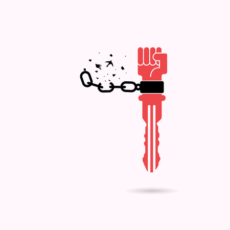 Creative key sign and human hands and broken chain with the bird symbols. Success and Freedom concept. Vector illustration Illustration