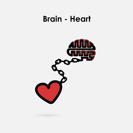 Heart and Brain connection concept. Brain and heart interactions symbol. Partnership and teamwork concept. Vector illustration Illustration