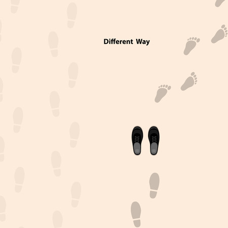 Footprints icon design vector template. Different thinking for success in life. Different thinking and leadership concept. Vector illustration  イラスト・ベクター素材