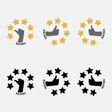 6 Stars rating or raking concept.