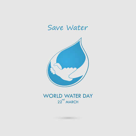 Water drop with human hand vector logo design template.World Water Day icon.World Water Day idea campaign for greeting card and poster.Vector illustration