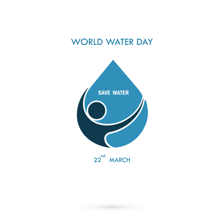 Water drop with human icon vector logo design template.World Water Day icon.World Water Day idea campaign for greeting card and poster.Vector illustration