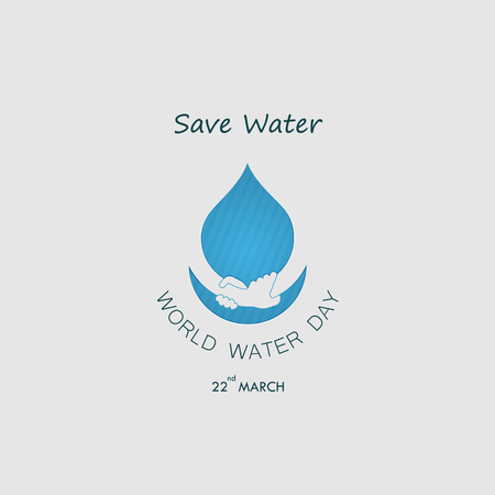 Water drop with human hand vector icon design template. World water day icon. World water day idea campaign for greeting card and poster. Vector illustration. Ilustração