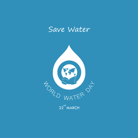 Water drop with world icon and human hand vector icon design template. World Water Day icon. World Water Day idea campaign for greeting card and poster. Vector illustration.