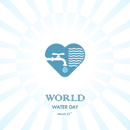 Water drop and water tap icon with heart shape vector logo design template. World Water Day icon.World Water Day idea campaign.