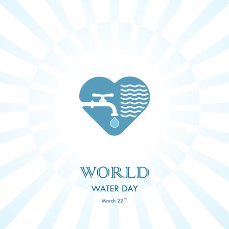 Icono de gota de agua y grifo con plantilla de diseño de logotipo de vector de forma de corazón. Icono del Día Mundial del Agua. Campaña de ideas del Día Mundial del Agua.