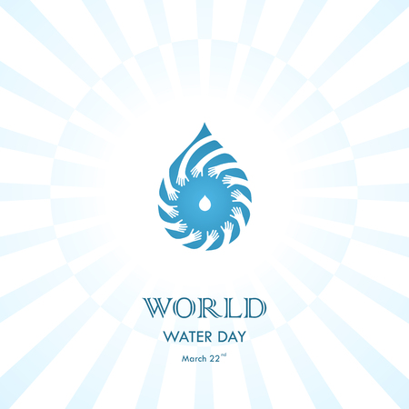 Water drop with human hand vector logo design template. World Water Day icon.