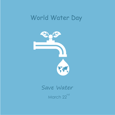 Water drop and water tap icon with green leaves vector logo design template. World Water Day icon.