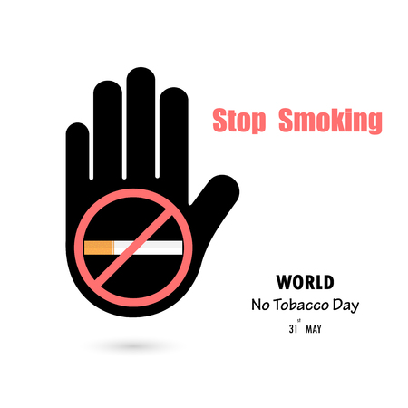Human hands and Quit Tobacco vector icon design template. May 31st World no tobacco day. No Smoking Day Awareness Idea Campaign for greeting Card, Poster, Brochure.