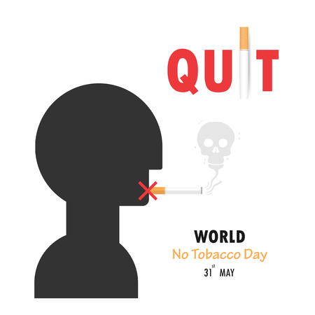 Human head and Quit Tobacco vector design template.