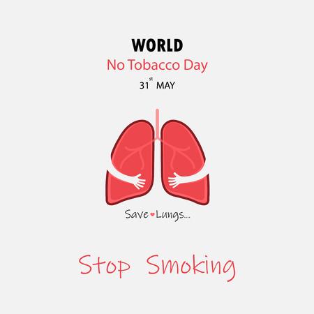 Personaggio dei cartoni animati sveglio del polmone e smettere di fumare e salvare il disegno vettoriale dei polmoni. 31 maggio Giornata mondiale senza tabacco concetto.