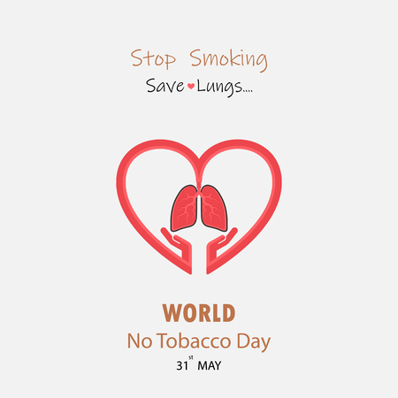 Hand and Lung cute cartoon character.Stop Smoking and Save Lungs vector design.May 31st World No Tobacco Day concept.No Smoking Day..