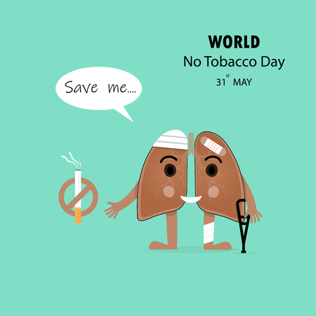 Damaged Lung cartoon character and Stop Smoking vector design