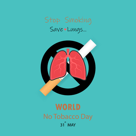 Lungs icon and cigarette. Quit Tobacco vector design template. Vectores