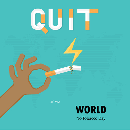 Human hands and broken cigarette icon with Quit Tobacco vector logo design template.May 31st World no tobacco day.No Smoking Day.No Tobacco Day Awareness Idea Campaign.Vector illustration.