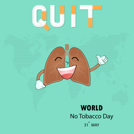 Lung cute cartoon character and Stop Smoking vector logo design template.May 31st World No Tobacco Day concept.No Smoking Day.No Tobacco Day Awareness Idea Campaign.Vector illustration.