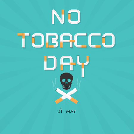 Human skull and cigarette.Quit Tobacco vector logo design template.May 31st World no tobacco day.No Smoking Day Awareness Idea Campaign.Vector illustration.
