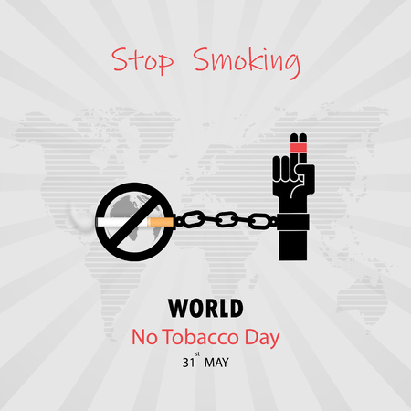 Human hands and cigarette.Quit Tobacco vector logo design template.May 31st World no tobacco day.No Smoking Day Awareness Idea Campaign.Vector illustration.