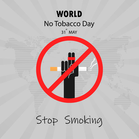 Human hands and cigarette.Quit Tobacco vector design template.May 31st World no tobacco day.No Smoking Day Awareness Idea Campaign.