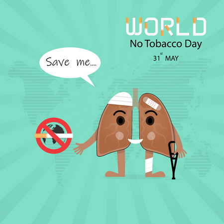 Damaged Lung cartoon character and Stop Smoking vector design .Concept of bruised and hurt Lung.May 31st World No Tobacco Day concept.No Smoking Day.No Tobacco Day Awareness Campaign. Illustration