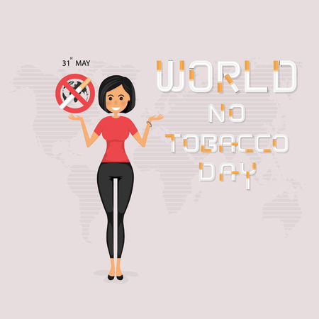 Pretty woman and Quit Tobacco vector design template.May 31st World No Tobacco Day concept.Stop Smoking.No Smoking Day.No Tobacco Day Awareness Idea Campaign.Vector illustration.