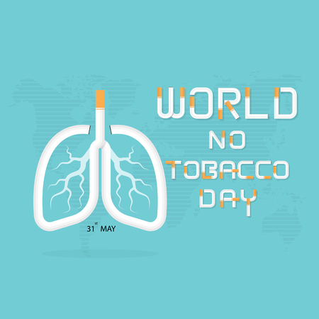Lung and cigarette icon with Stop Smoking vector  design template.May 31st World no tobacco day concept.No Smoking Day.No Tobacco Day Awareness Idea Campaign. Illustration