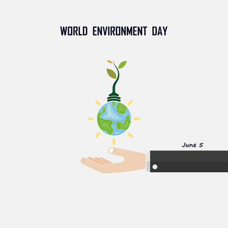 World Environment day concept vector logo design template.June 5st World Environment day concept.World Environment day Awareness Idea Campaign.Vector illustration.