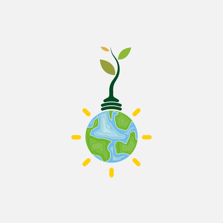 Light bulb and Tree icon.World Environment day concept vector design template.June 5st World Environment day concept.World Environment day Awareness Idea Campaign.Vector illustration.