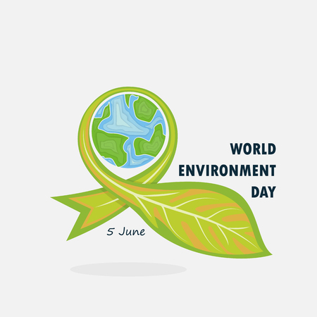 Globe and Leaf sign. World Environment day concept vector logo design template.June 5st World Environment day concept.World Environment day Awareness Idea Campaign.Vector illustration. Illustration