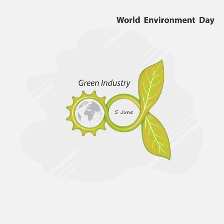 Engranaje, concepto infinito y verde Signo de globo y hoja. Plantilla de diseño de logotipo de vector de concepto de día mundial del medio ambiente. 5 de junio Concepto de día mundial del medio ambiente.