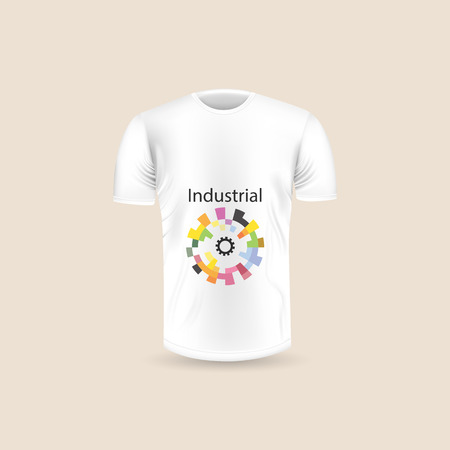 Men's T-shirt icon on background.Round neck Jersey background.Front view.Shadows and highlights mock-up templates.White jersey mock up template design.Vector Illustration  イラスト・ベクター素材