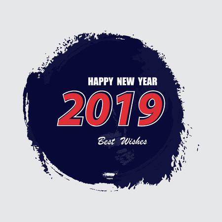 Happy new year 2019 Text Design Vector illustration.Happy new year 2019 vector background. Vector brochure design template. Cover of business diary for 2019 with wishes
