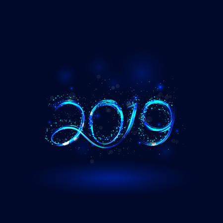 Happy New Year 2019 background.Vector illustration for holiday design.Party poster.Greeting card,banner or invitation template.Abstract burning circles with glitter swirl trail effect background.Glowing lights