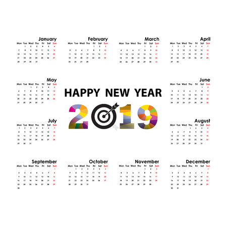 2019 Calendar Template.Starts Monday.Yearly calendar vector design stationery template.Vector illustration.