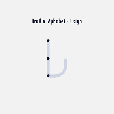 Creative english version of Braille alphabet design element.Braille alphabet letters.Classic emblem.Elegant dynamic alphabet letters.Flat web design icon.Vector illustration. Ilustrace