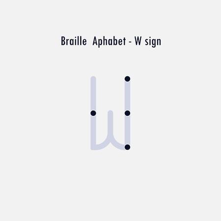 Creative english version of Braille alphabet design element.Braille alphabet letters.Classic emblem.Elegant dynamic alphabet letters.Flat web design icon.Vector illustration. Illustration