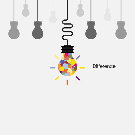 Creative light bulbs vector  design template and Difference concept.Business,Education and Industrial idea. Vector illustration Illustration