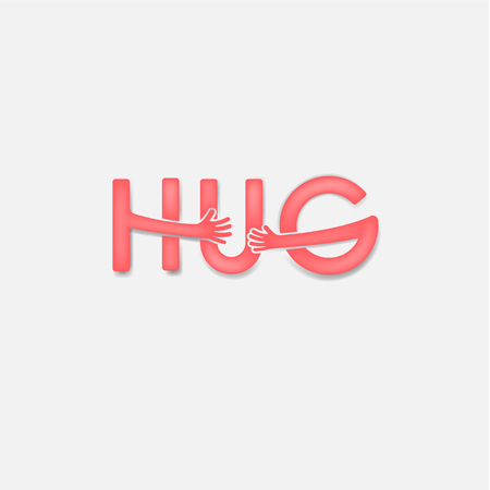 """""""HUG"""" typographical and Hand icon.Embrace or hug icons vector design.Hugs and Love yourself symbol.Love concept.Valentine's Day Vector Card.Love"""
