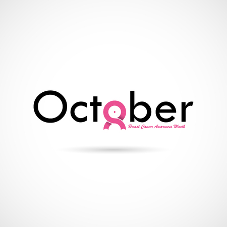 Breast Cancer October Awareness Month Typographical Campaign Background.Women health vector design.Breast cancer awareness logo design.Breast cancer awareness month icon.Realistic pink ribbon.Pink care logo.Vector illustration Illustration