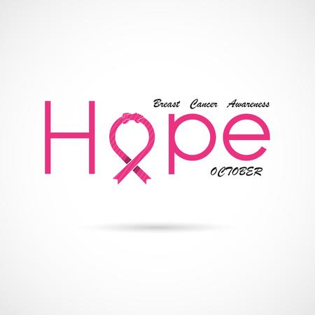 """""""Hoffnung"""" typografisch. Hoffnungswortikone. Brustkrebs-Oktober-Bewusstseinsmonats-Kampagnenhintergrund. Frauengesundheitsvektorentwurf. Brustkrebs-Bewusstseins-Logoentwurf. Brustkrebs-Bewusstseinsmonatsymbol. Vektorillustration"""